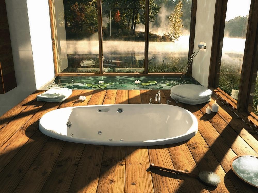 bathroom design with wooden decor