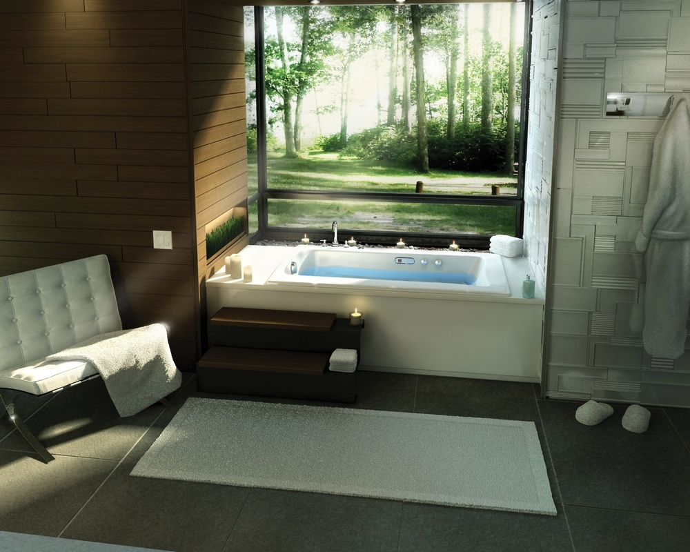 beautiful bathroom showing outside view