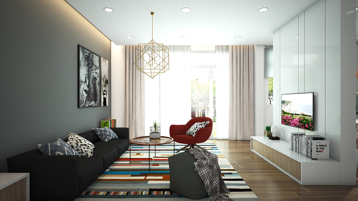 cozy colorful living room apartment
