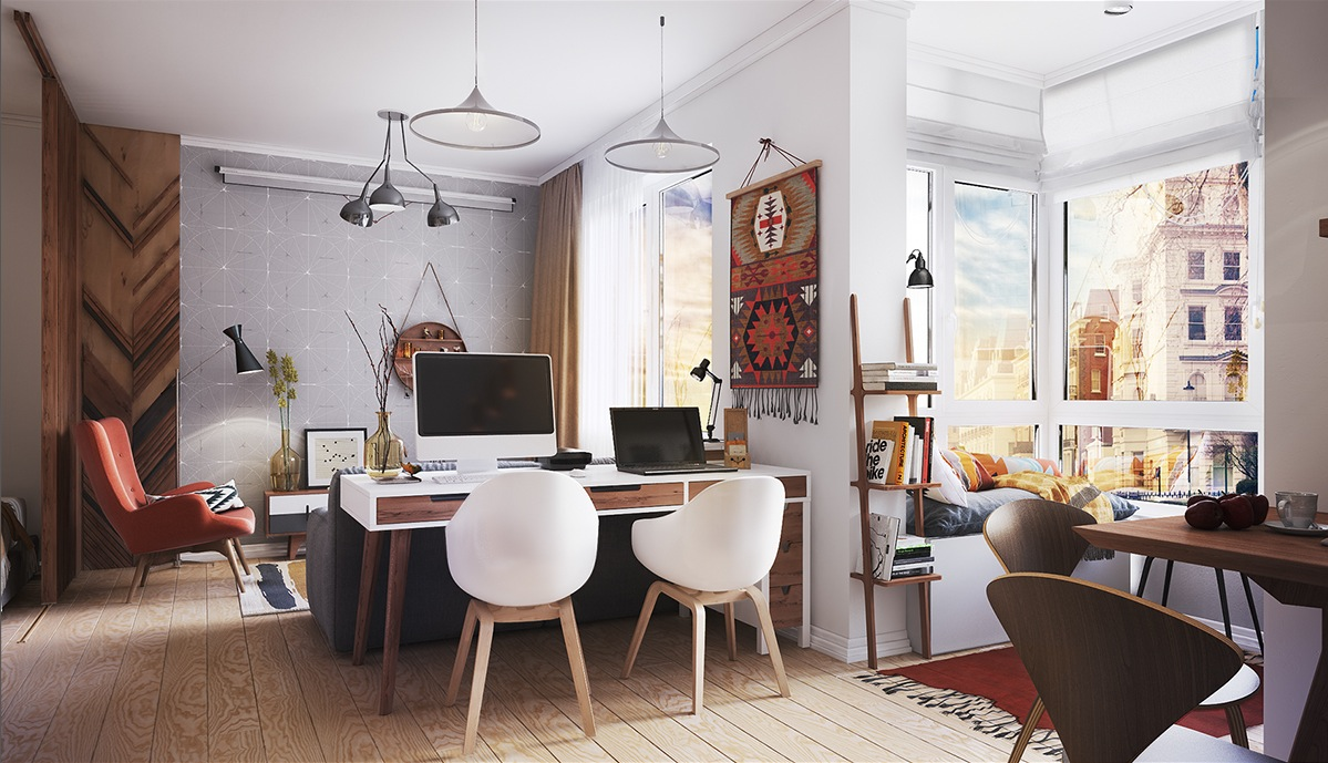 open plan tiny apartment decorating