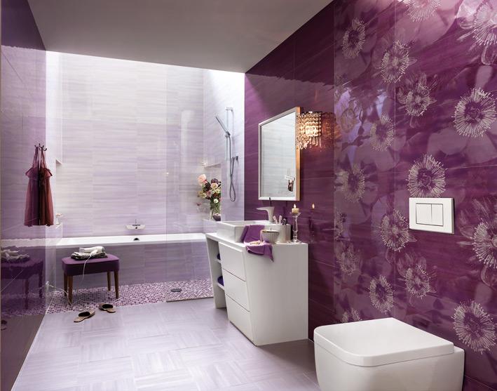 Purple white floral bathroom design