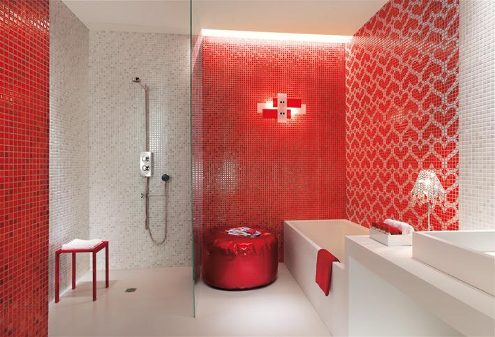 Red white heart mosaic bathroom
