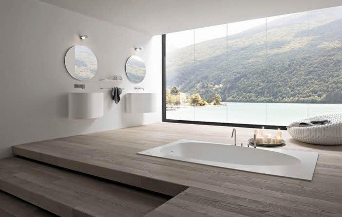 relaxing white modern bathroom