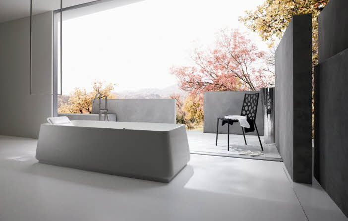 modern bathroom with outside view