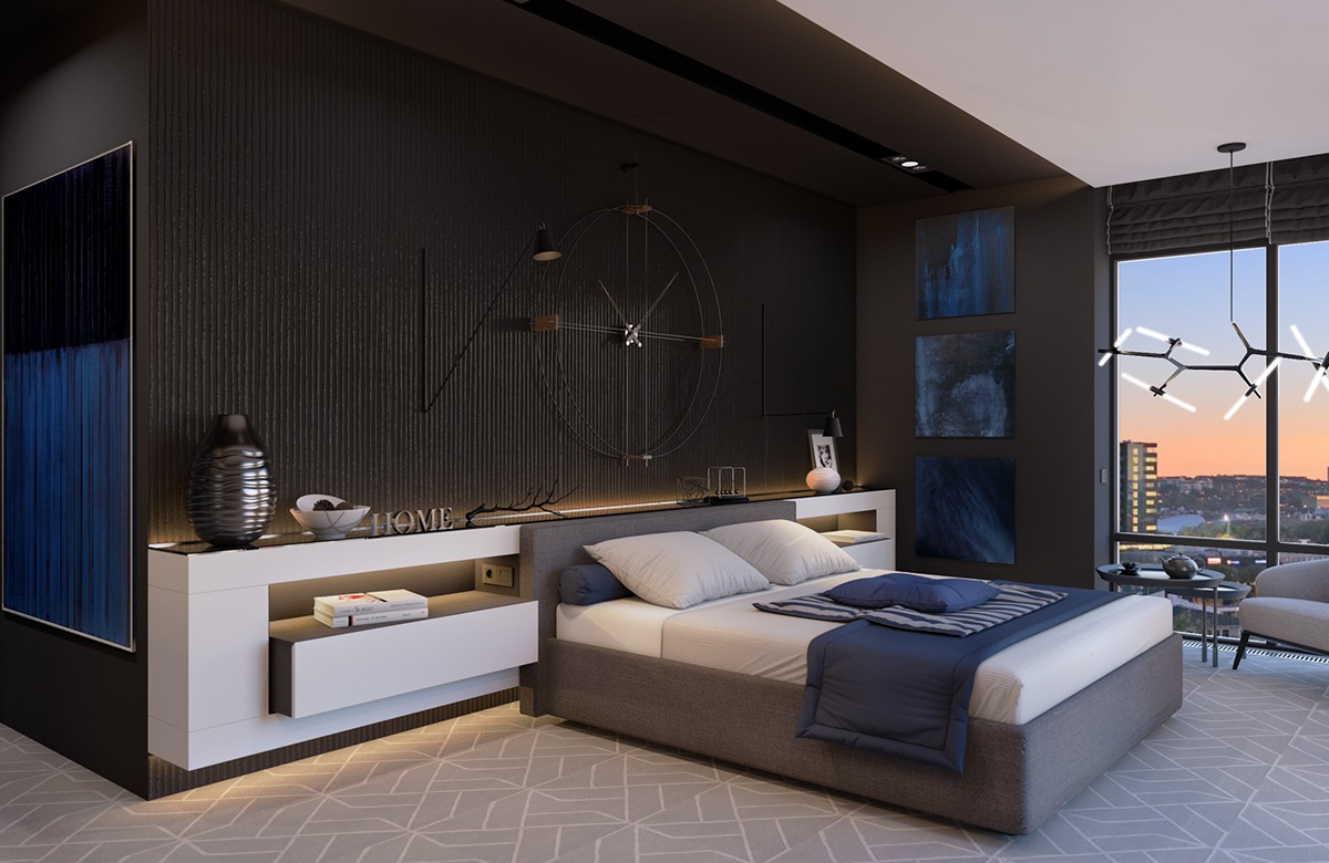 modern dark bedroom decorating ideas
