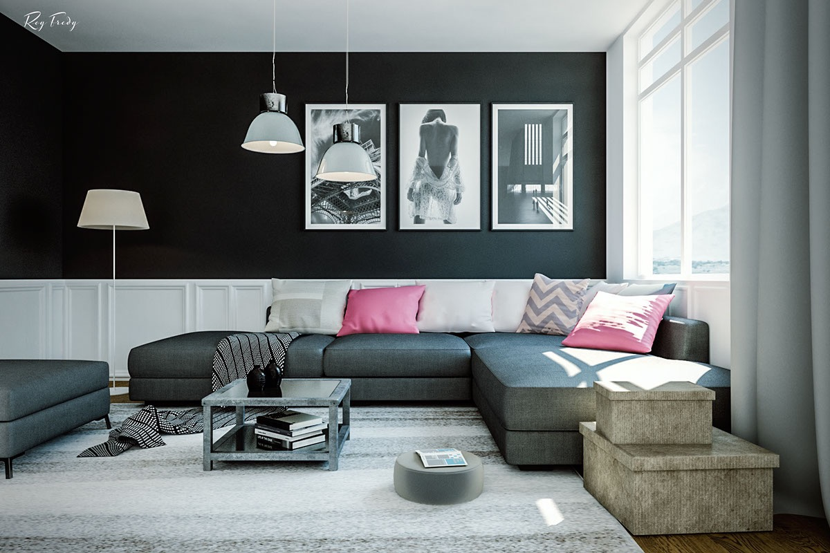 exotic black living room decoration