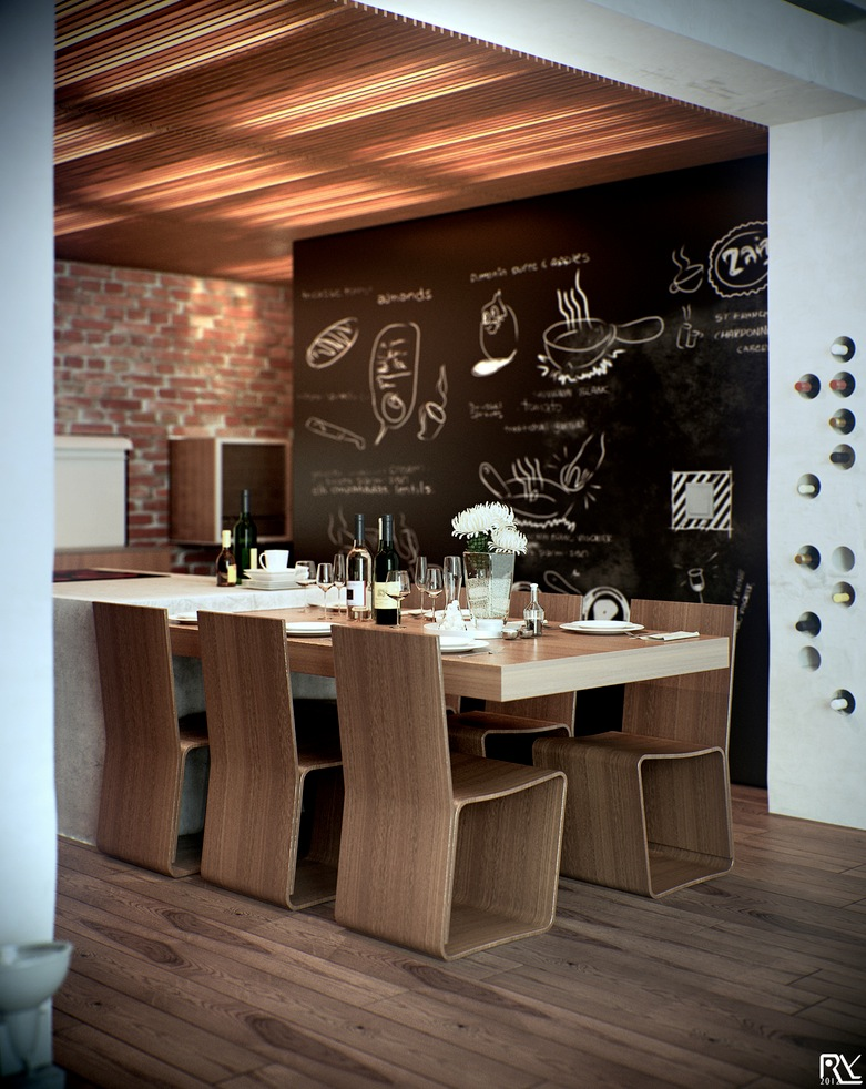 modern wooden dining room design