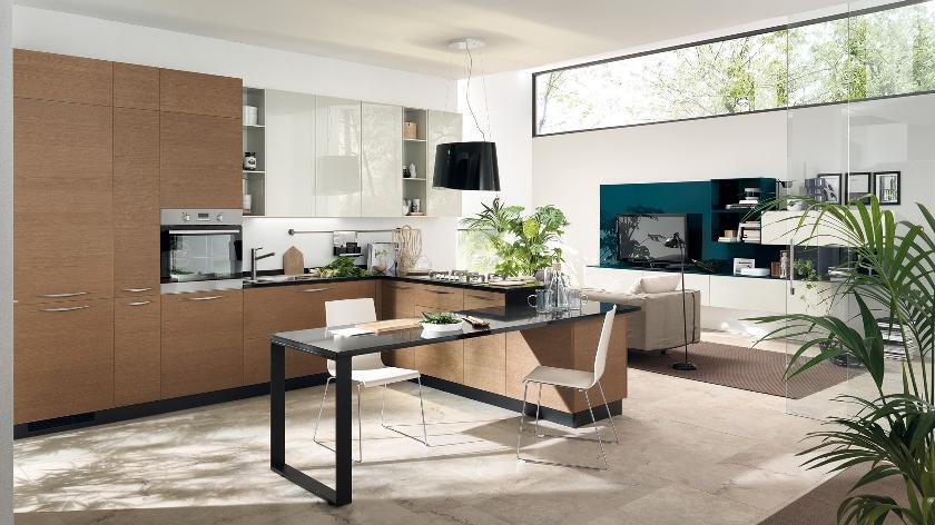 contemporary kitchen with wooden