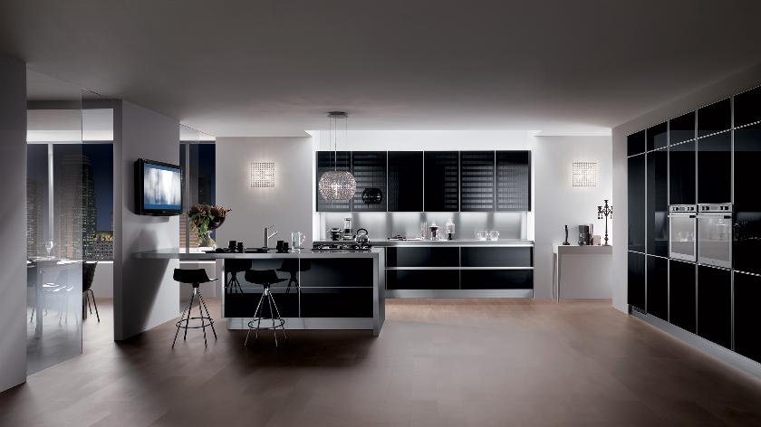 contemporary kitchen with dark furniture