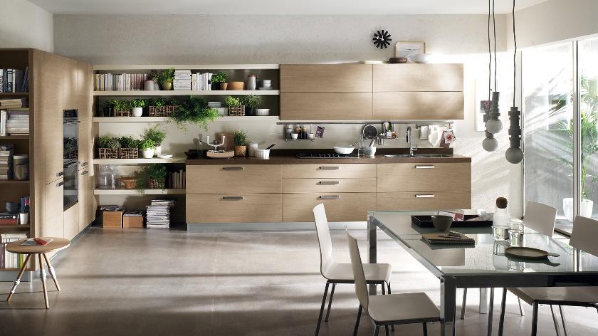 beige color contemporary kitchen decorating