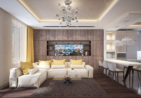 modern wooden wall living room