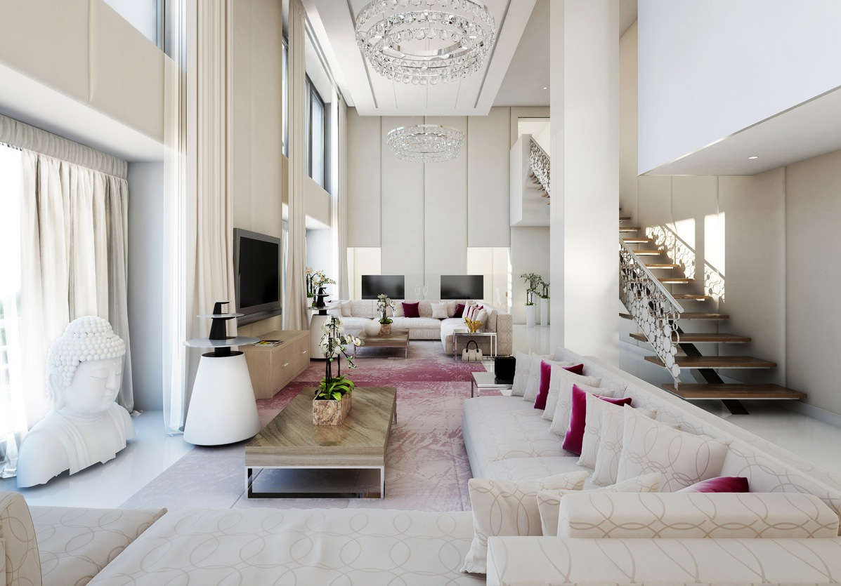 white spacious living room decor