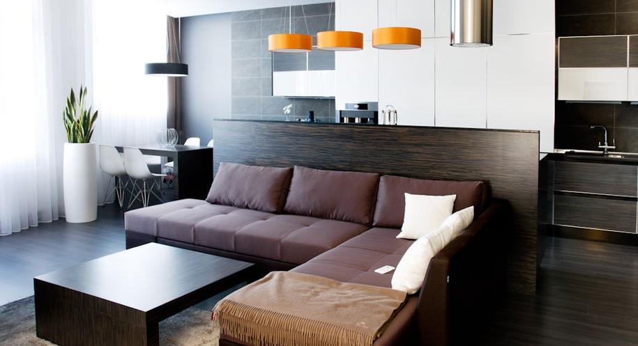 spacious brown living room decor
