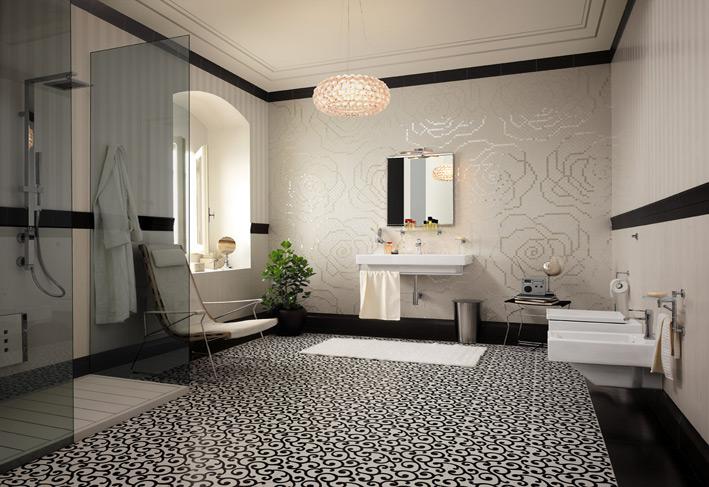 Tiled floor carpet floral tiles