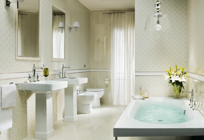 Traditional white tile bathroom design