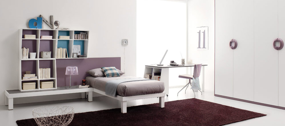 purple color teen bedroom design