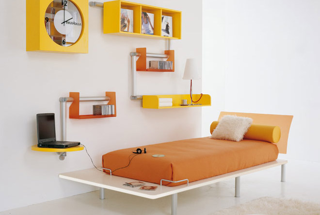 orange color teen bedroom design