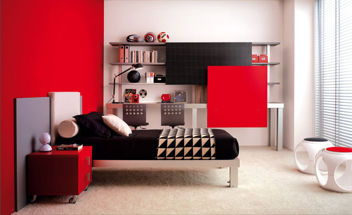 bright color teen bedroom design