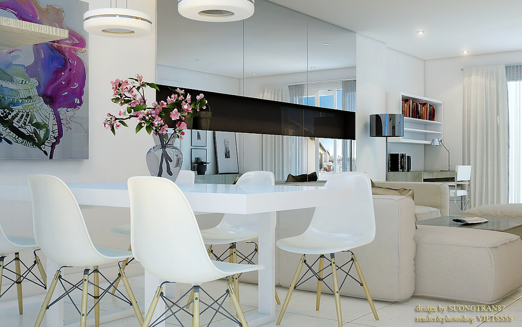 modern white dining room concept