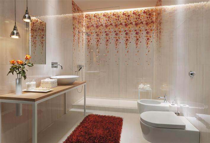 White floral bathroom design