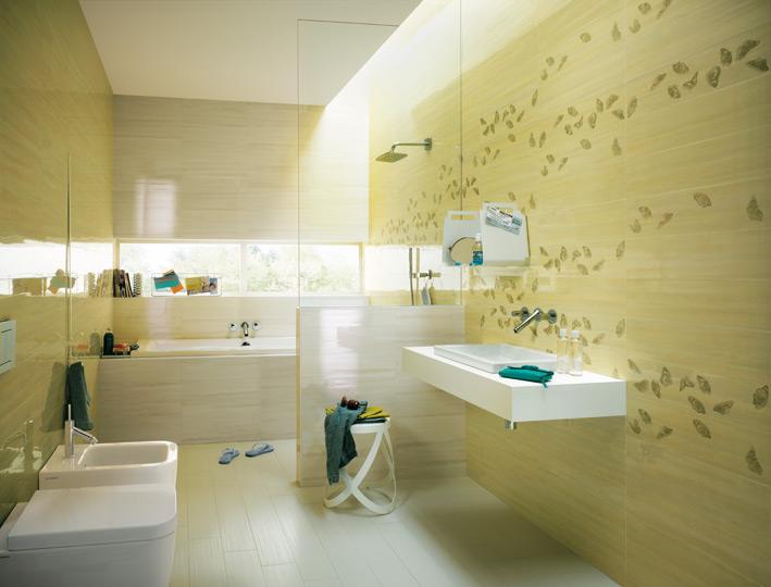 Yellow cream white bathroom tiles