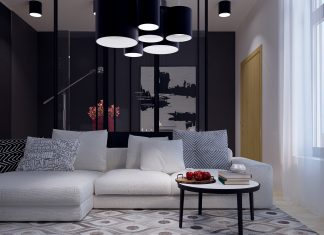 living room with pendant light