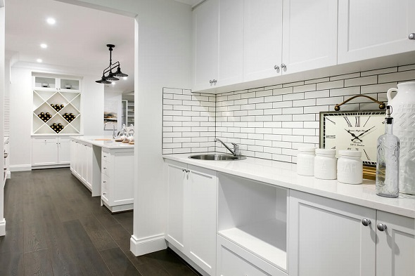 Beautiful kitchen designs which will inspire with modern ideas 2016 roohome designs plans - White brick tiles black grout ...