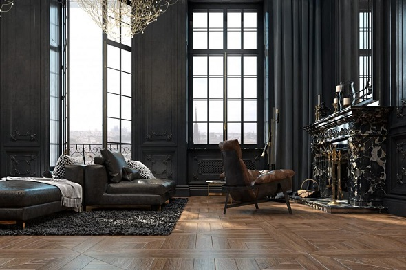 Dark concept for decorating living room