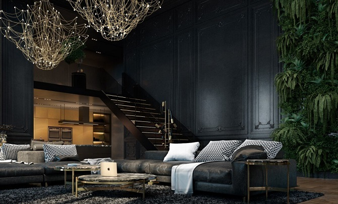 Decorating Living Room Walls With A Shade Of Dark Colour Ideas Roohome