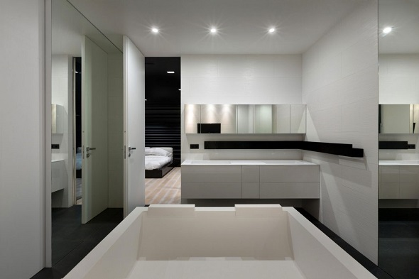 Modern bathroom design with modern interior