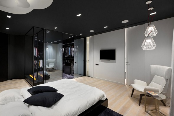Modern bedroom design with modern furniture