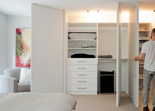 Modern bedroom with minimalist furniture