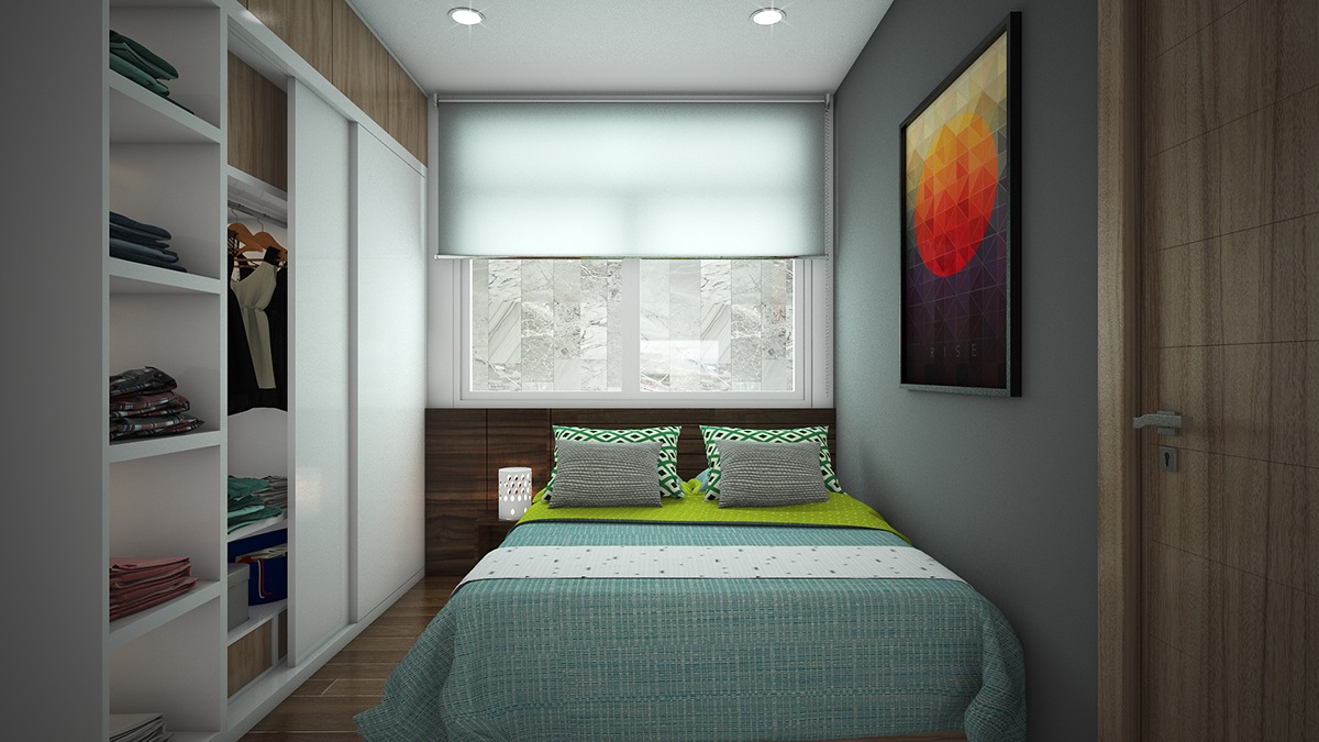 small bedroom blue cover