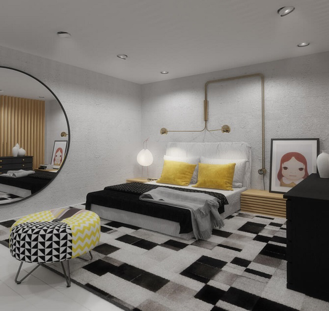 Small bedroom design with modern interior