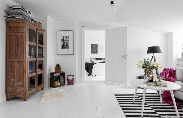 Small living room with Scandinavian Interior