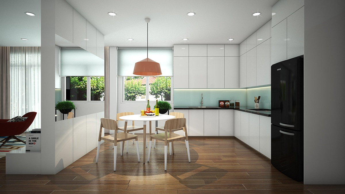 white sleek kitchen black appliances