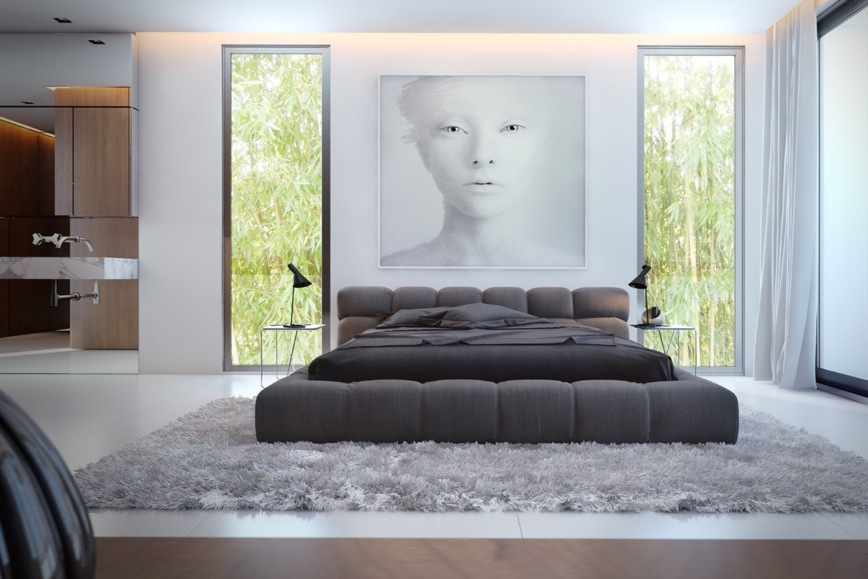 luxury bedroom with a workart