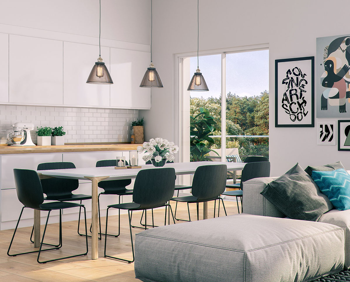 Modern dining room designs combined with scandinavian for New dining room looks