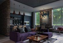 small purple apartment design