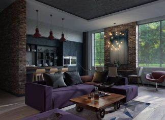 small purple apartment design