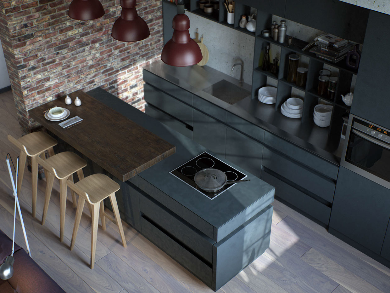 wall texture kitchen design