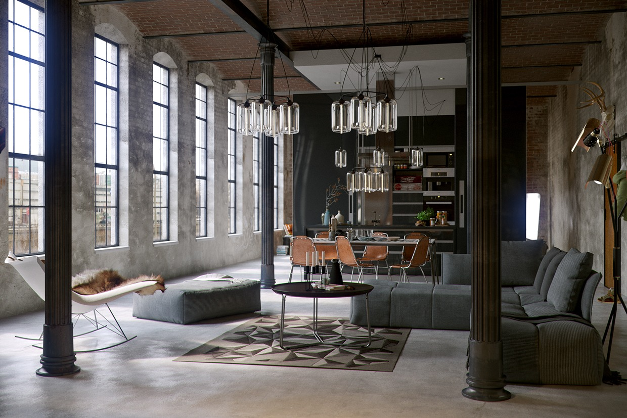 open plan living room An Industrial Theme