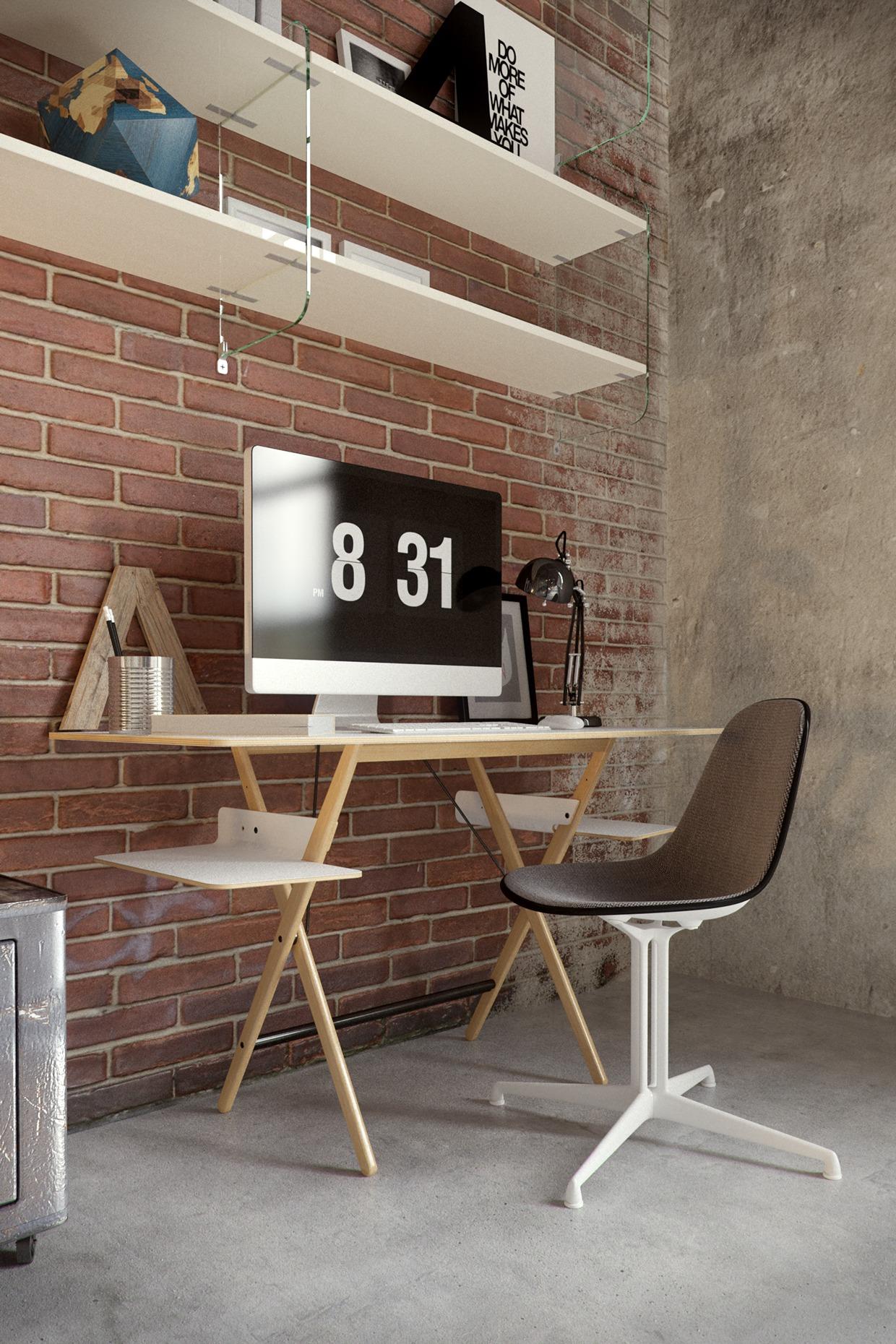 workspace exsposed brick wall