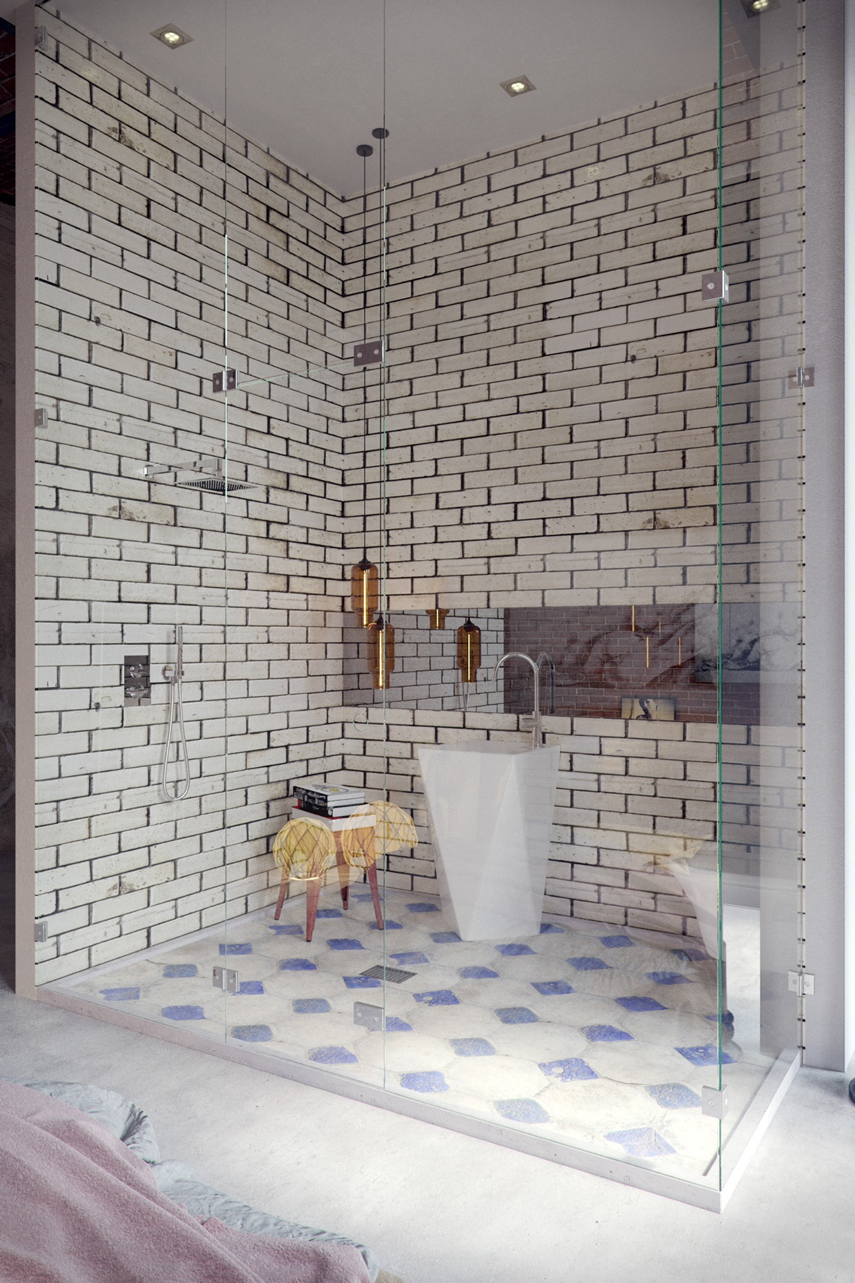 white brick bathroom decoration