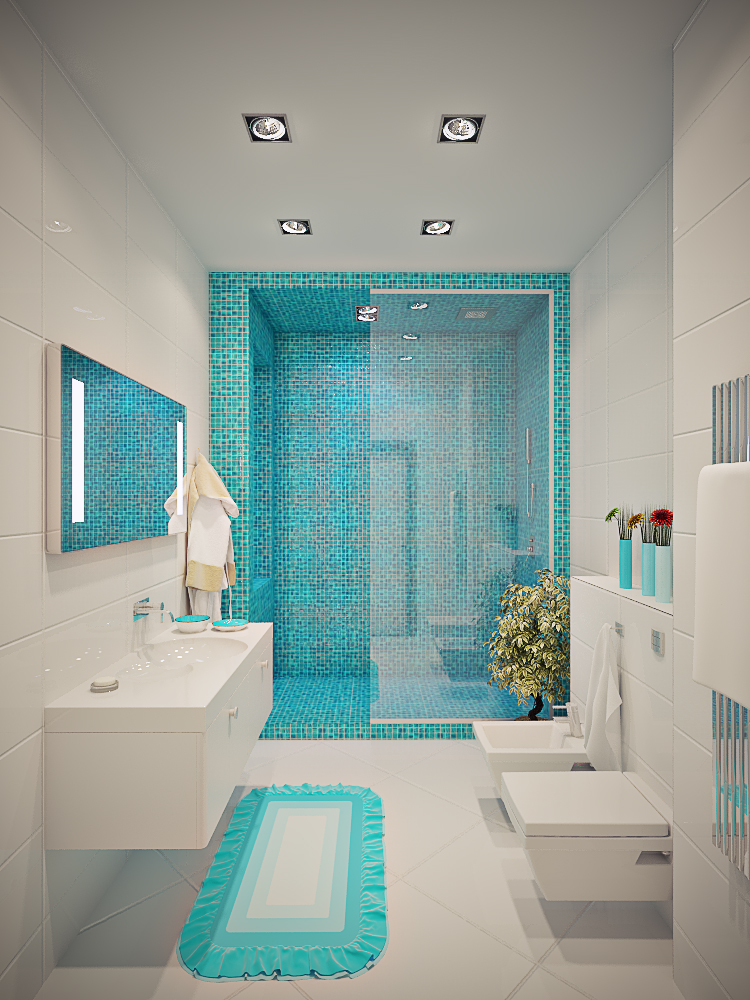 white and blue bathroom design