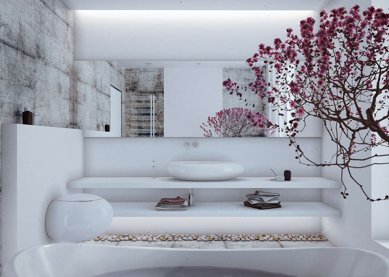 decorating white bathroom