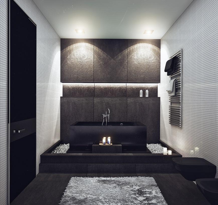 black bathroom decorating idea
