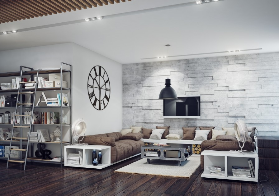 white modern spacious living room