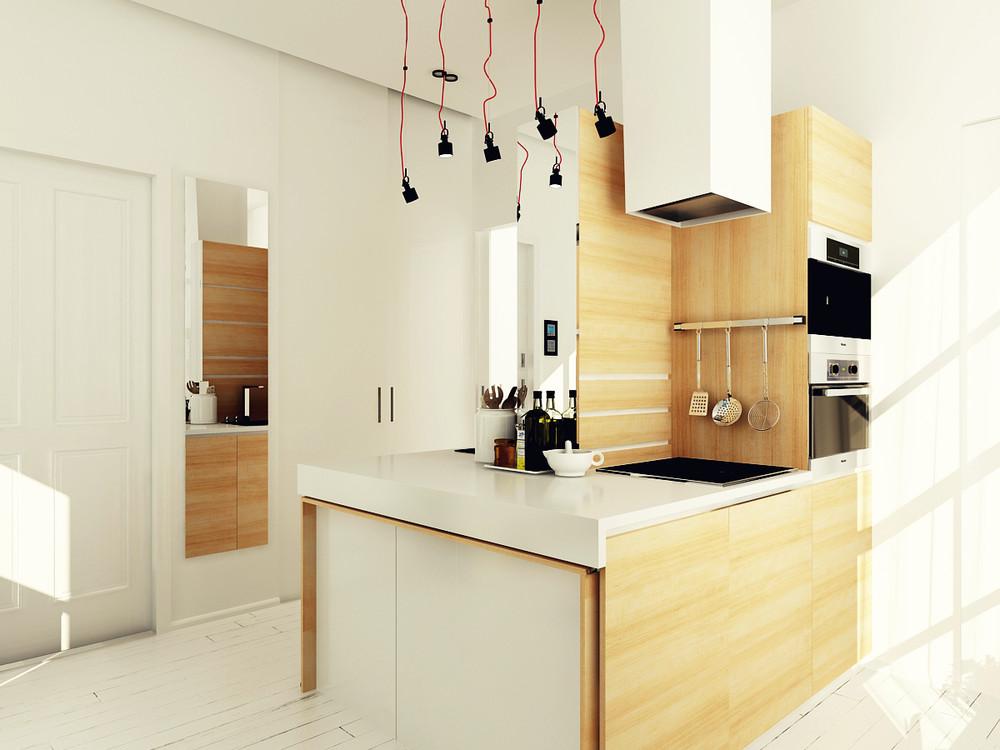wooden small kitchen design