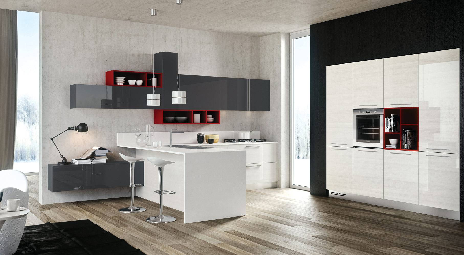 wooden accent for modern kitchen